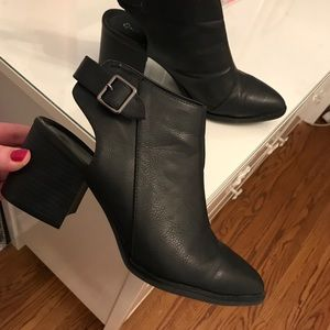Quipid Black Faux Leather Cut-Out Booties